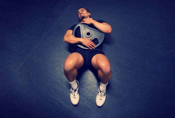 man working on his core
